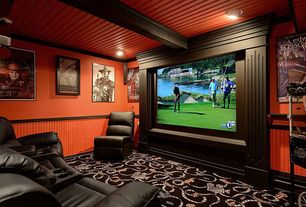 Craftsman Home Theater with Exposed beam, Standard height, Carpet, can lights, Wainscotting, Crown molding