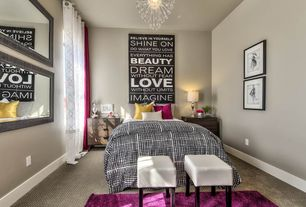 Transitional Guest Bedroom with Retro Signz Inspirational Wall Decor, Ikea Trysil 3 Drawer Chest, Carpet, Chandelier