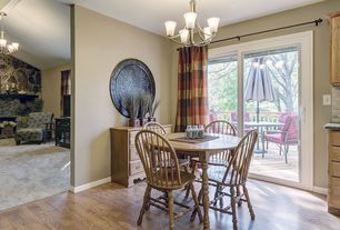 Country Dining Room with Chandelier, Hardwood floors
