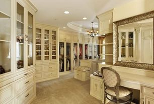 Traditional Closet with can lights, Standard height, Carpet, Chandelier, Built-in bookshelf, Crown molding
