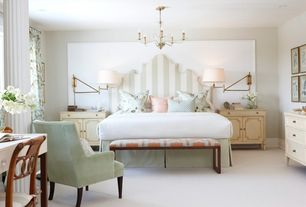 Traditional Master Bedroom with Built-in bookshelf, Carpet, Chandelier