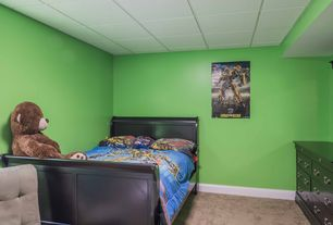 Eclectic Kids Bedroom with Carpet, flush light