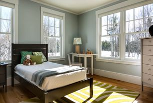 Traditional Kids Bedroom with Cordless polyester cellular shade, Hardwood floors, Crown molding, Crate & Barrel Barnes Bed