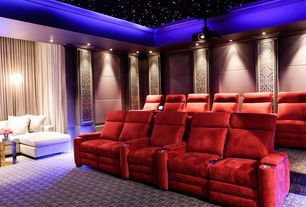 Eclectic Home Theater with Crown molding, Carpet, can lights, Pendant light, Standard height