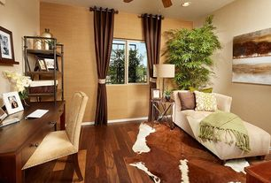 Eclectic Home Office with Built-in bookshelf, Woven Workz Marion Throw, Hardwood floors, Ceiling fan, interior wallpaper