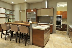 Contemporary Kitchen with Wood counters, Ceramic Tile, Custom hood, Breakfast bar, flush light, European Cabinets, L-shaped