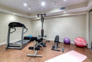 Traditional Home Gym with simple granite floors, Crown molding, High ceiling, Stained concrete floor, flush light