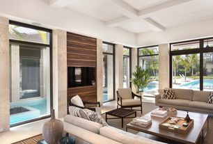 Contemporary Living Room with Williams Sonoma Home Stripe Rug Pillow Cover, Concrete floors, Box ceiling, Exposed beam