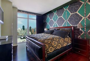 Eclectic Master Bedroom with Hardwood floors, interior wallpaper