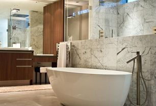 Contemporary Master Bathroom with Vessel sink, Rain shower, frameless showerdoor, Master bathroom, Skylight, Freestanding