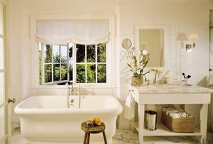 Traditional Full Bathroom with Complex marble counters, Wall sconce, Freestanding, Console sink, High ceiling, Crown molding