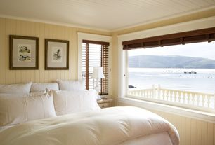 Cottage Guest Bedroom with Basics egyptian cotton 300 thread count duvet cover, Crown molding, Wood ceiling
