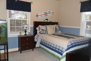 Traditional Kids Bedroom with Chair rail, Standard height, Hardwood floors, no bedroom feature, double-hung window