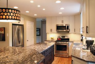 Contemporary Kitchen with Farmhouse sink, Pendant light, Kitchen island, Flat panel cabinets, U-shaped, Ceramic Tile, Flush