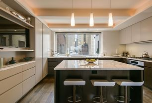 Contemporary Kitchen with European Cabinets, Complex marble counters, Dekton-Ultra Compact Surface Countertop in Aura, Flush