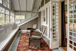 Craftsman Porch with Screened porch, French doors, Coral coast mocha resin wicker rocking chair with beige cushion, Paint