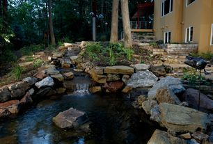 Rustic Landscape/Yard with Pathway, Pond, exterior stone floors