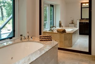 Modern Master Bathroom with High ceiling, Flat panel cabinets, Inset cabinets, Ms international - breccia oniciata marble