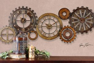 Rustic Living Room with Grinding gears clock
