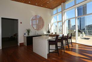 Modern Bar with High ceiling, can lights, specialty door, picture window, Hardwood floors, Built-in bookshelf