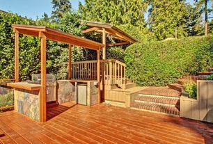 Craftsman Deck with Fence, Pathway, Trellis, Raised beds, Outdoor kitchen, Deck Railing
