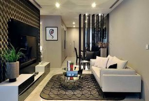 Contemporary Living Room with interior wallpaper, Built-in bookshelf, simple marble floors