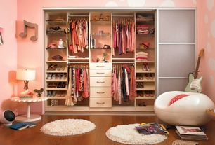 Eclectic Closet with Paint, Custom closet storage, Built-in bookshelf, Standard height, Shag rug, Closet system, Whimsical