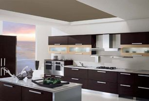Contemporary Kitchen with Simple granite counters, L-shaped, Carerra white marble countertop, Destiny: acrilux cabinets