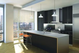 Contemporary Kitchen with Undermount sink, One-wall, Flush, European Cabinets, Soapstone, Pendant light, Breakfast bar