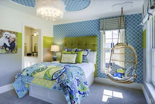 Eclectic Kids Bedroom with Crown molding, Serena and Lily Double Hanging Rattan Chair, Wall sconce, Chandelier, Carpet