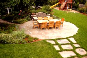 Craftsman Landscape/Yard with Chatham rectangular extending dining table and chair set, Fire pit, exterior stone floors