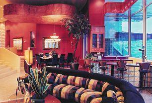Modern Bar with interior brick, High ceiling, simple granite tile floors
