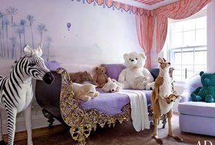Eclectic Kids Bedroom with Mural, Hardwood floors, Crown molding