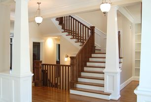 Craftsman Staircase with Columns, Hardwood floors, High ceiling, Wainscotting