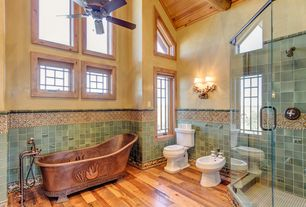 Country Master Bathroom with Black forest bear wall sconce, United tile star tribeca sequoia gloss 4 x 4, Ceiling fan, Bidet