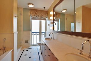 Contemporary Master Bathroom with European Cabinets, Standard height, Paint, Paint 1, Bathtub, Quartz countertop, Wall Tiles