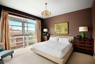 Contemporary Master Bedroom with Carpet, picture window, Casement, Chandelier, Standard height