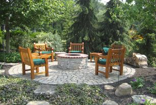 Traditional Landscape/Yard with Pathway, Mutual Materials Roman Dominion Pavers, Teak English Garden Armchair, Fence