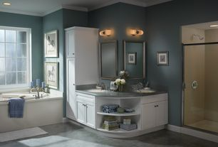 Traditional Master Bathroom with Concrete counters, Howard Elliott Collection Christian Silver Rectangle Mirror, Flush
