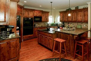 Traditional Kitchen with Pendant light, Tribecca home salvador saddle back 24-inch oak stools (set of 2), Inset cabinets