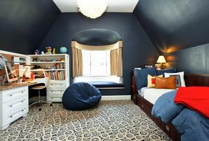 Contemporary Kids Bedroom with Window seat, Pottery Barn Kids Belden Bed, Sun Valley Espresso, Bean bag, Chandelier, Carpet