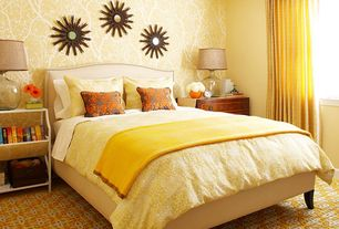 Traditional Guest Bedroom with interior wallpaper, Carpet
