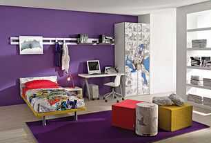 Contemporary Kids Bedroom with Area rug, Standard height, Laminate floors, Metal shelving system, Paint, Natural light