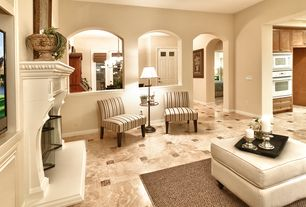 Traditional Living Room with Standard height, simple marble floors, Cement fireplace, Fireplace