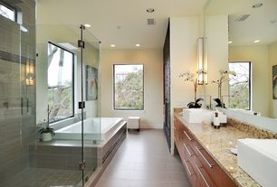 Modern Master Bathroom with Shower, drop in bathtub, Flush, Vessel sink, Master bathroom, partial backsplash, Paint 1