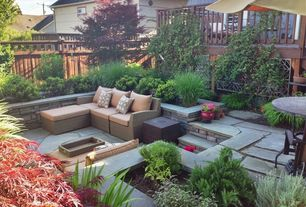 Contemporary Patio with Raised beds, Fence, exterior stone floors