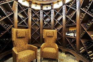 Craftsman Wine Cellar with travertine floors, flush light