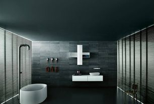 Modern Full Bathroom with Standard universal boffi designers, European Cabinets, Rain shower, Vessel sink, Flush
