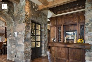 Rustic Bar with Built-in bookshelf, Crown molding, Box ceiling, Hardwood floors, Glass panel door, Exposed beam, High ceiling