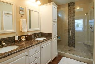 Traditional 3/4 Bathroom with specialty door, three quarter bath, wall-mounted above mirror bathroom light, Double sink